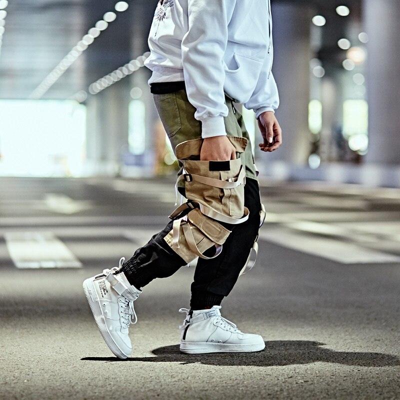 Hip hop Cargo Pantalon Streetwear Hommes Baggy pantalon de harem Patchwork pantalon multipoches décontracté Tatical Pantalon Butin Ruban Harajuku