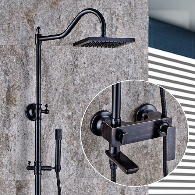 Luxury Oil Rubbed Bronze Bathtub Shower Set Mixer Tap Faucet Antique Rain Head Bathroom Adjust
