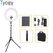 18″ Ring Light Photography Dimmable Adjustable 3200K-5500K LED Bi-color Camera Light with Tripod