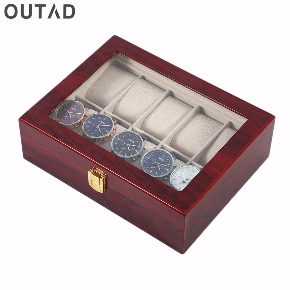 Wood Red Mens Watch Winder Box Casket Case Bread 10 Grids Storage Jewelry Display Watch Time Holder Luxury Collection Mahogany watch winder lt wooden automatic rotation 2 0 watch winder storage case display box white