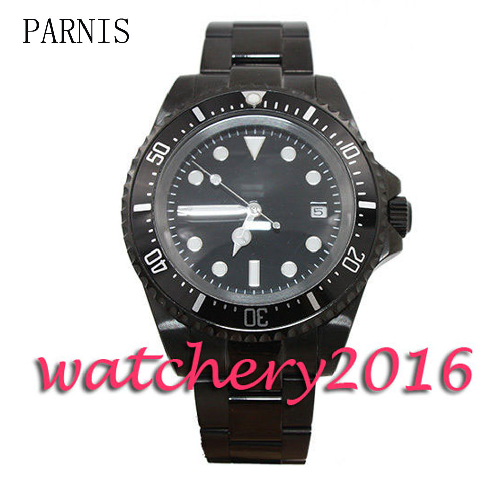 New Parnis 42mm black dial PVD case luminous markers deployment clasp date adjust Automatic movement Men