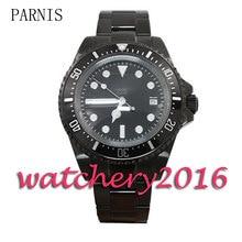 を新パーニス 42 ミリメートルブラック pvd ケース発光マーカー展開クラスプ日付調整自動ムーブメントメンズ腕時計