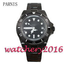 New Parnis 42mm black dial PVD case luminous markers deployment clasp date adjust Automatic movement Men's Watch