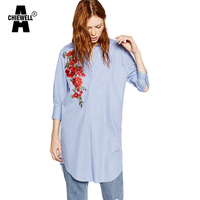 Achiewell Plus Size Summer Women Stripes Shirts Long Sleeve Light Blue Embroidered Loose Long Women Dress