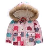 Baby Girls Coat with Fur Hooded 2018 Kids Winter Coats for Girls Outerwear Animal Floral Girls Jackets Warm Fleece Children Coat