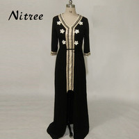 Formal Events Gown Elegant V Neck 3 4 Sleeve Arabic Abaya Beads High Low Black Muslim