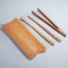 4Pcs/set Natural Bamboo Tea Accessories Hand Made Ceremony Tools Chinese Kung Fu TeaSpoon Clip