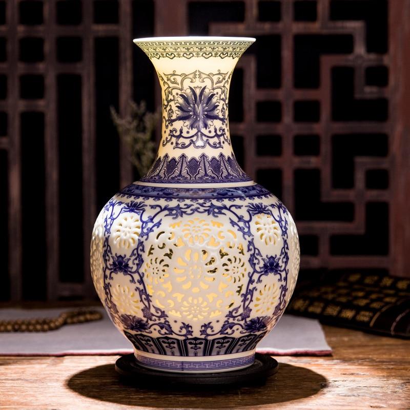 Jingdezhen Creux En Céramique Vase Chinois Bleu Et Blanc Percé Vase Salon Décoration Porcelaine Fleur Vase