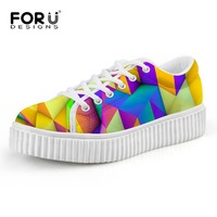 FORUDESIGNS Stylish Women Platform Shoes Mixed Color Female Lace up Creepers Flat Shoes Casual Ladies Flats Woman Zapatos Mujer