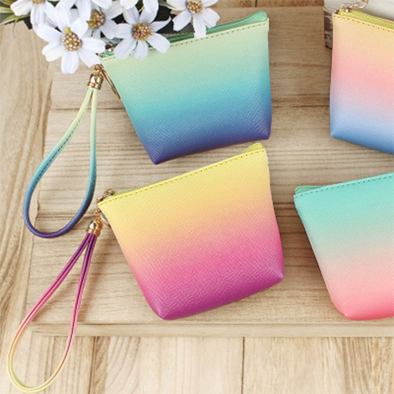 1PC 2018 New Design Rainbow PU Zero Wallet For Women Girls Coin Purse Pouch With Hand Rope