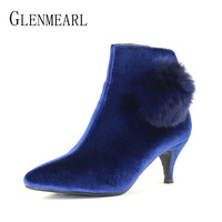 Fashion Women Boots High Heels Shoes Brand Real Fox Fur Thin Heel Ankle Boots Woman Zip