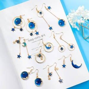 c1e0f00c9 RONERAI Blue Long Dangle Earrings for Women Jewelry