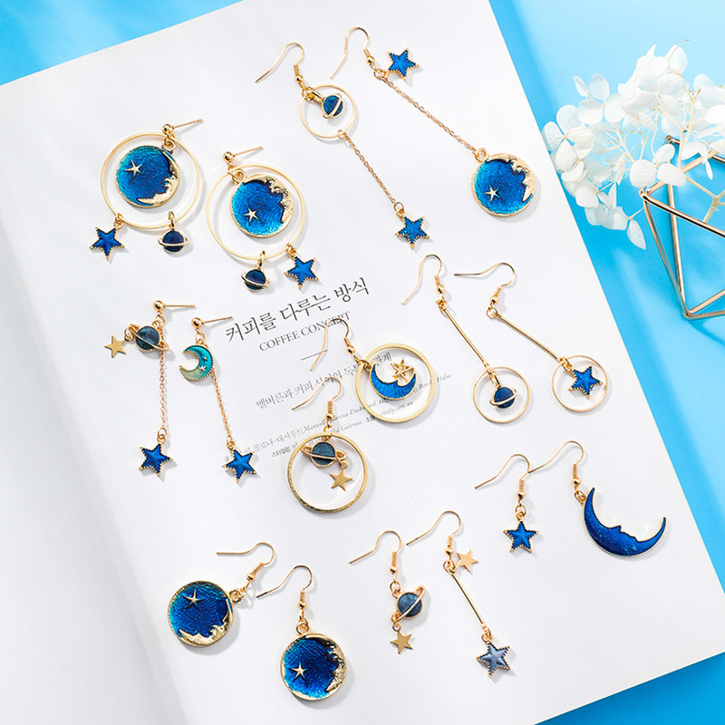 Trendy Sweet Girl Japanese Blue Star Moon Asymmetry Geometry Long Earrings Dangle Earrin ...