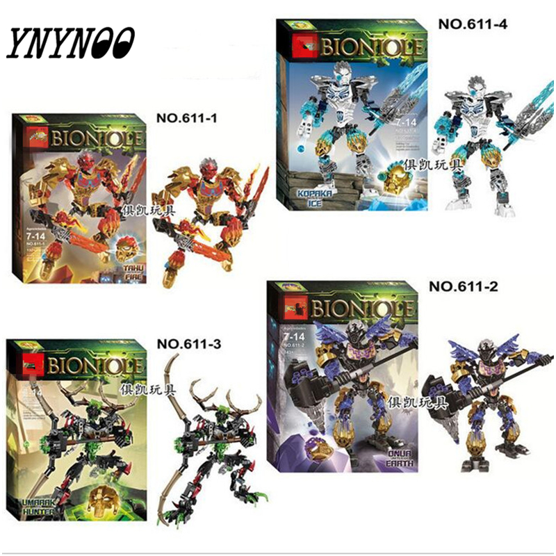 YNYNOO New BIONICLE series jungle Rock Water Earth Ice Fire protecto action Building Block Best Toy Compatible with Legoings