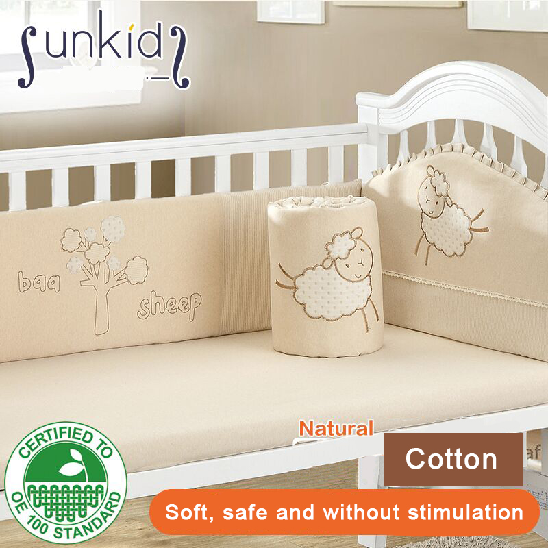 4pcs set Baby Bed Around Piece Set 100% Cotton Baby Bedding Kit Autumn And Winter Colored Cotton Crib