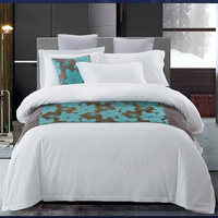 Hotel 4 pcs Special White Bedding Sets Cotton Satin Bedding Linens Include Soft Duvet Cover Pillowcase Bed Sheets