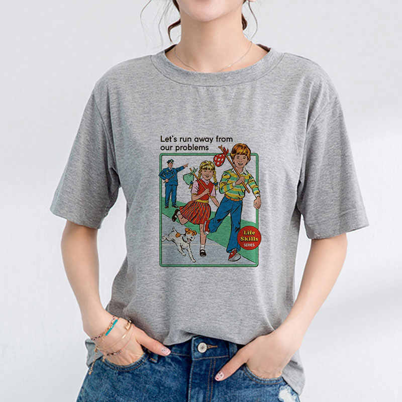 Womens Kawaii Ulzzang Aesthetic Clothes Pulp Fiction Plus Size Streetwear Tee Shirt Femme Harajuku Korean Style Summer Tshirts