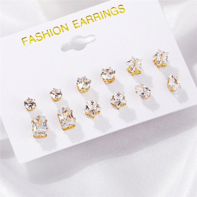 Fashion 6 Pair/ set Punk Zircon Crystal Stud Earrings Set For Women Star Flower Animal Tortoise Geometric Brincos Jewelry Bijoux gold earrings for women