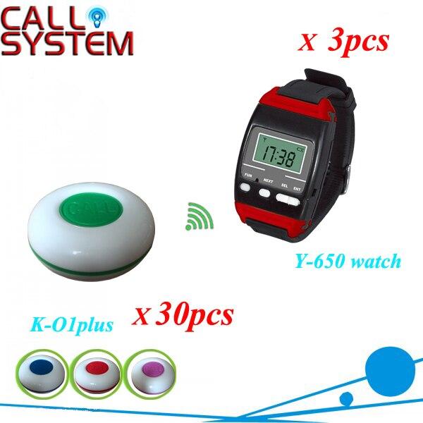 Dhl бесплатная доставка беспроводной официант вызова 30 шт. K-O1-plus официант кнопка вызова, 3 шт. Y-650 новый наручные часы