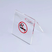 50 pcs Acrylic no smoking warn table tablet stands No smoking warning sign desktop stands sign plate stand