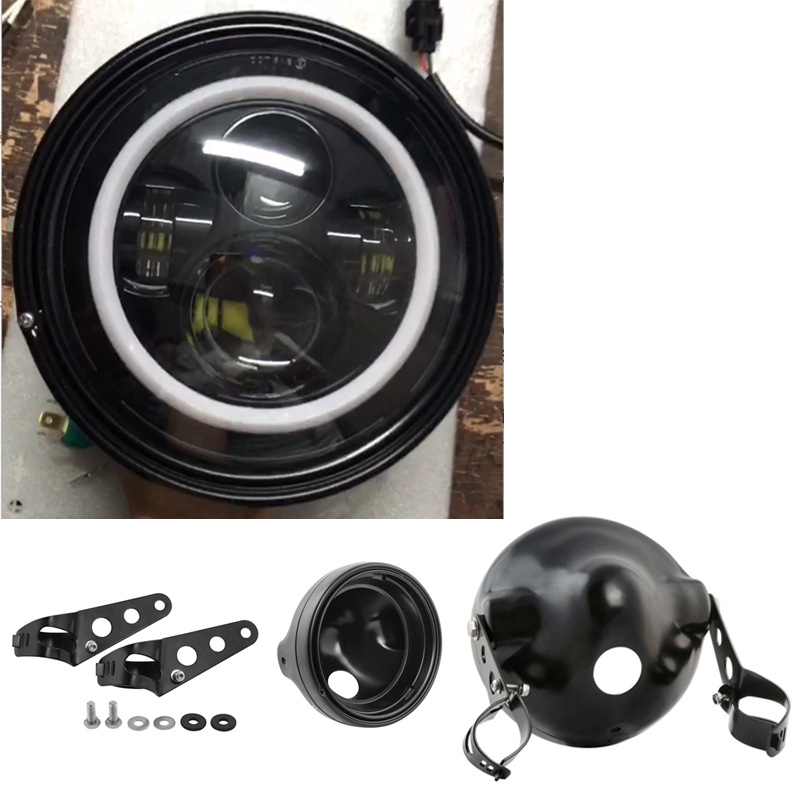 7 Inch Round Motorcycle Headlight Headlamp with Halo W/A with Black Housing 7 Headlight Motorcycle Bucket mount Headlight Shells