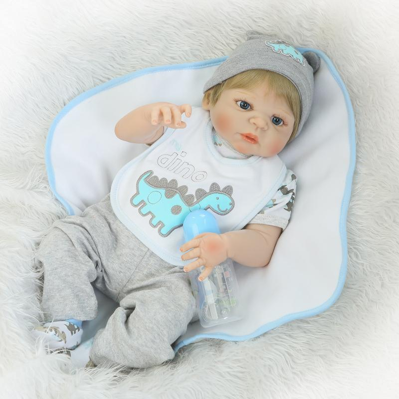 Nicery 22inch 55cm Bebe Reborn Doll Hard Silicone Boy Girl Toy Reborn Baby Doll Gift for Children Blue Dino Cloth Hat Baby Doll nicery 22inch 55cm bebe reborn doll hard silicone boy girl toy reborn baby doll gift for children white hat red dress baby doll