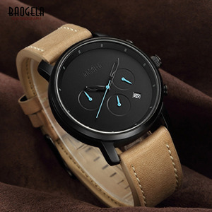 Image 5 - Baogela Mens פשוט הכרונוגרף אנלוגי שחור קוורץ שעון, עור Bracelete שעוני יד עם לוח שנה תאריך עבור ילד וגבר 1705G