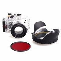 소니 rx100 iii + 67mm 레드 필터 + 67mm 어안 렌즈 돔 포트 용 40 m/130f 방수 수중 하우징 케이스