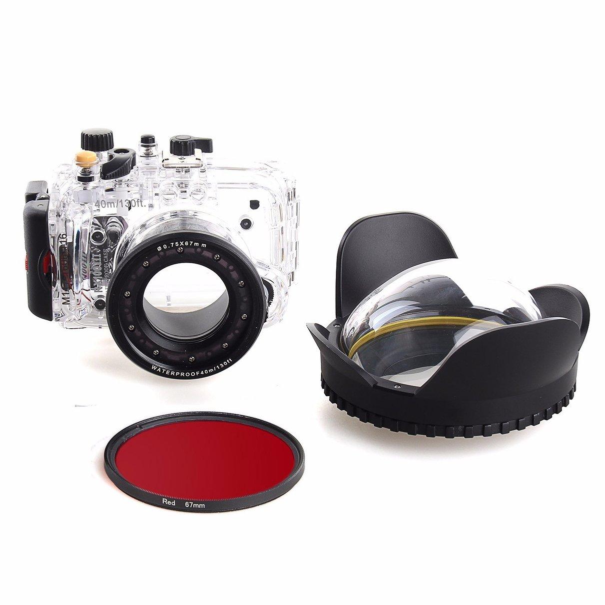 40m/130f Waterproof Underwater Housing Case For Sony RX100 III + 67mm Red Filter + 67mm Fisheye Lens dome port