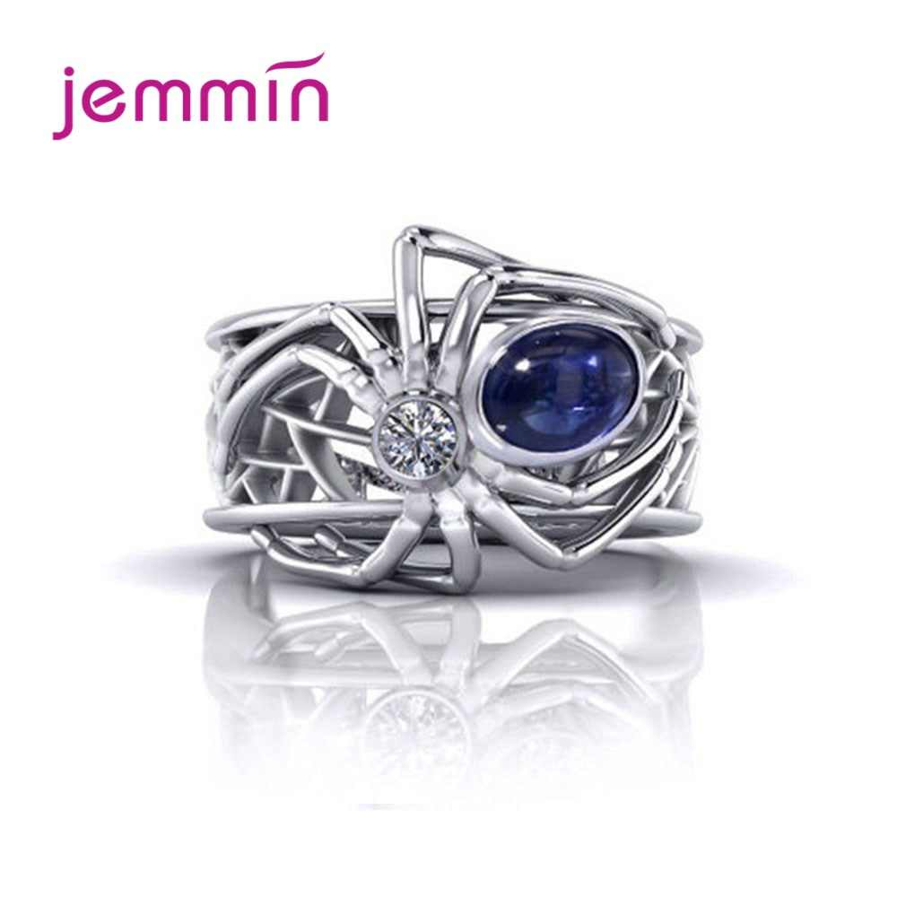 Retro Royal Blue Cubic Zirconia Spider Animal Ring For Women  925 Sterling Silver Big Hollow CZ Wedding Bands Ring For Party