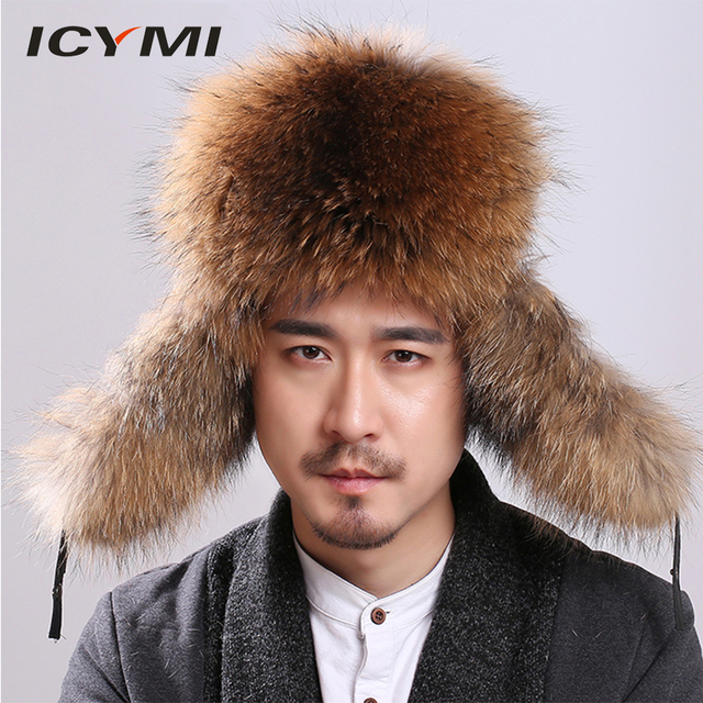 513209d2ef23f ICYMI Raccoon Fur Men s caps Winter with Genuine Leather Tops Real Silver  Fox Fur Russian Men Bomber Hats trapper hat