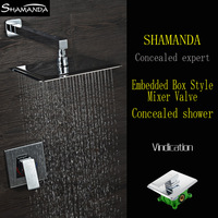 Hot Sale Free Shipping Chrome In Wall Embedded Box Shower Set Bath Faucet Mixer Brass Shower