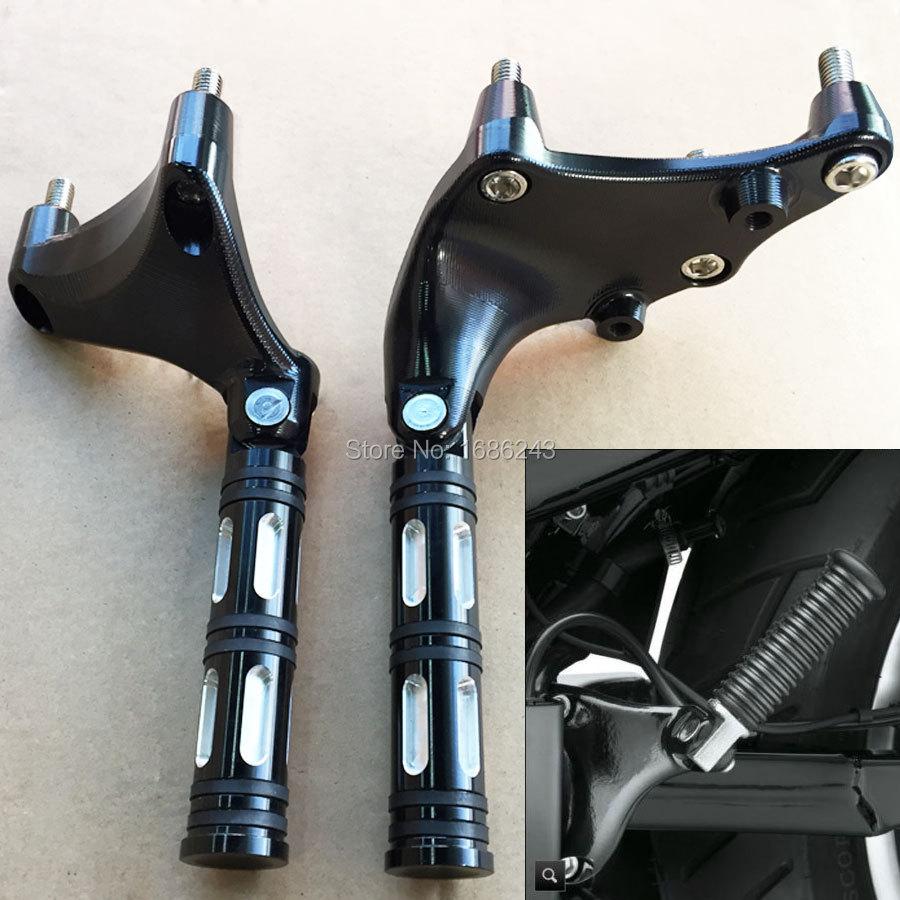 Black Metal Foot Rest Rear Passenger Footpeg Mount Kit Fits For 2014 18 Harley Sportster Iron