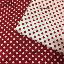 Хлопок саржевая ткань темно-красная ткань в горошек для DIY детей постельный принадлежности подушки ремесла платье ручная работа лоскутное шитье Текстиль