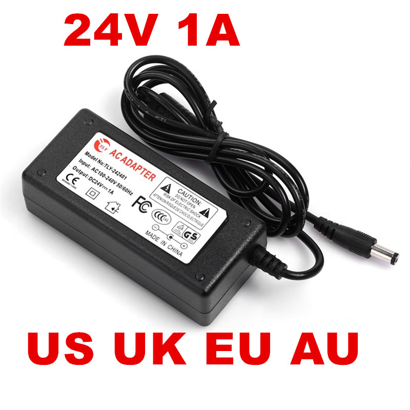 цена на 5PCS AC100-240V to DC 24V 1A 24W Power Adapter 24v1a Ac AdapterUS EU UK AU plug AC line 1.5M + DC line 1.2M