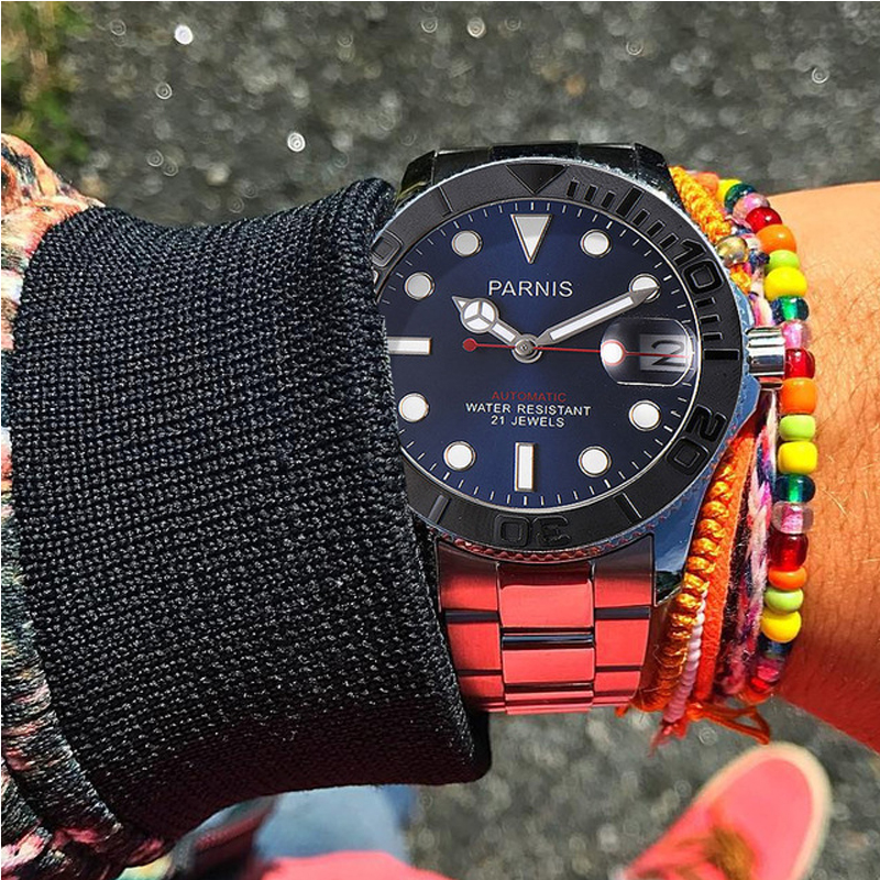Parnis Automatische Horloge Diver Miyota 8215 Mechanische Horloges Saffier mekanik erkek kol saati reloj automatico Mannen-in Mechanische Horloges van Horloges op  Groep 1