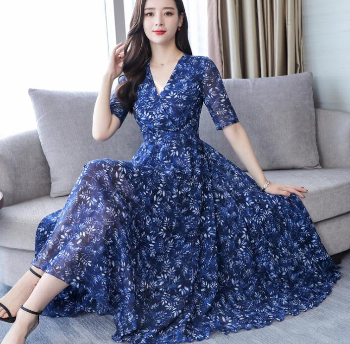 2019 New Arrival Plus Size M-4XL  Elegant V Collar Flower Printed Short Sleeve High Quality  A Patterned Chiffon Long Dress