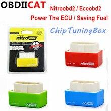 50 шт. Nitro OBD2 EcoOBD2 Чип ECU тюнинговая коробка вилка и драйвер NitroOBD2 Eco OBD2 для бензинового дизельного автомобиля 15% экономия топлива больше мощности