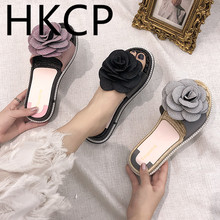 HKCP 2019 spring/summer slipper casual shoes go with a line womens floral flat open-toe slippers C017