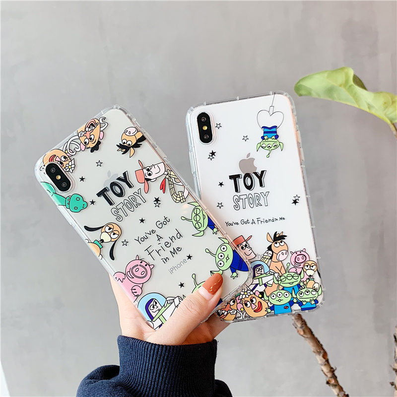 cute <font><b>Toy</b></font> <font><b>Story</b></font> Hand drawn cartoon Cover case For <font><b>iphone</b></font> 11 pro X XS Max <font><b>XR</b></font> 8 7 6 Plus Air Cushion Transparent Soft Phone <font><b>Coque</b></font> image