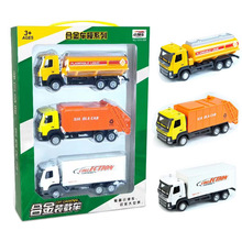 1/50 Scale 3pcs/set Alloy Sliding Engineering Military Fire Truck Models Children Cheap Toys Gifts Collections Briquedos
