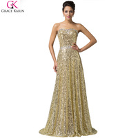 Luxury Grace Karin A Line Sequin Strapless Long Pageant Vestidos Wedding Party Dresses Formal Celebrity Dress
