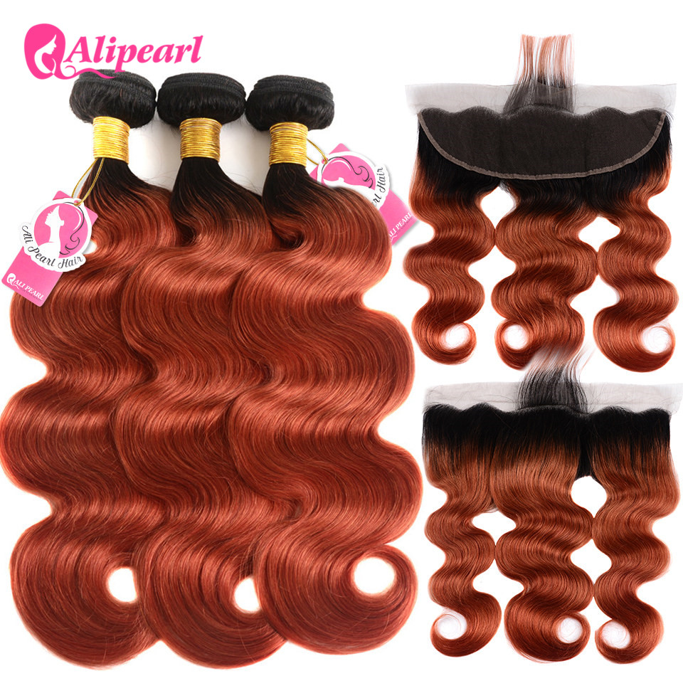 Good Alipearl Hair 1b/350 Bundles With Frontal Closure Brazilian Hair Weave Bundles 1b/350 Body Wave 3 Bundles With Frontal Remy Hair Human Hair Weaves