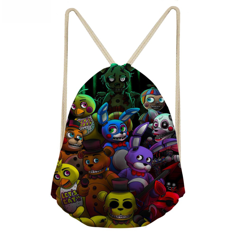 ThiKin Five Night at Freddy Printed Cartoon School Backpack for Girls Boys Drawstring Bags Kids Backpack