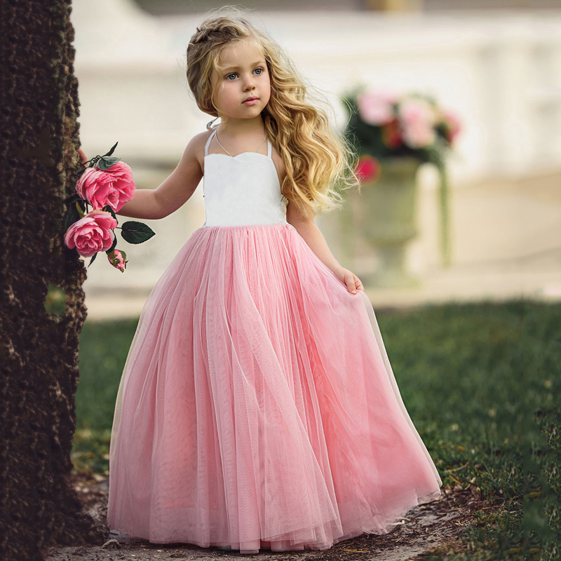 B&N Fashion Spaghetti Girl Dress Wedding Party Tulle Dress For Children Princess Summer Dresses Clothing 1-65