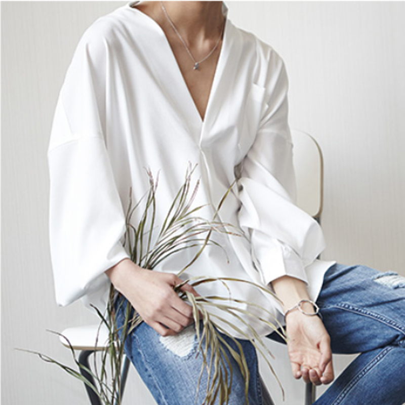 ladies summer shirt collar women loose blouse korean style white shirt loose v-neck blouses shirts