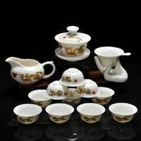 Ensemble de thé Kung Fu 14 pièces, motif chinois comprenant des tasses à thé et une théière en porcelaine blanche émaillée Dragon 10pcs