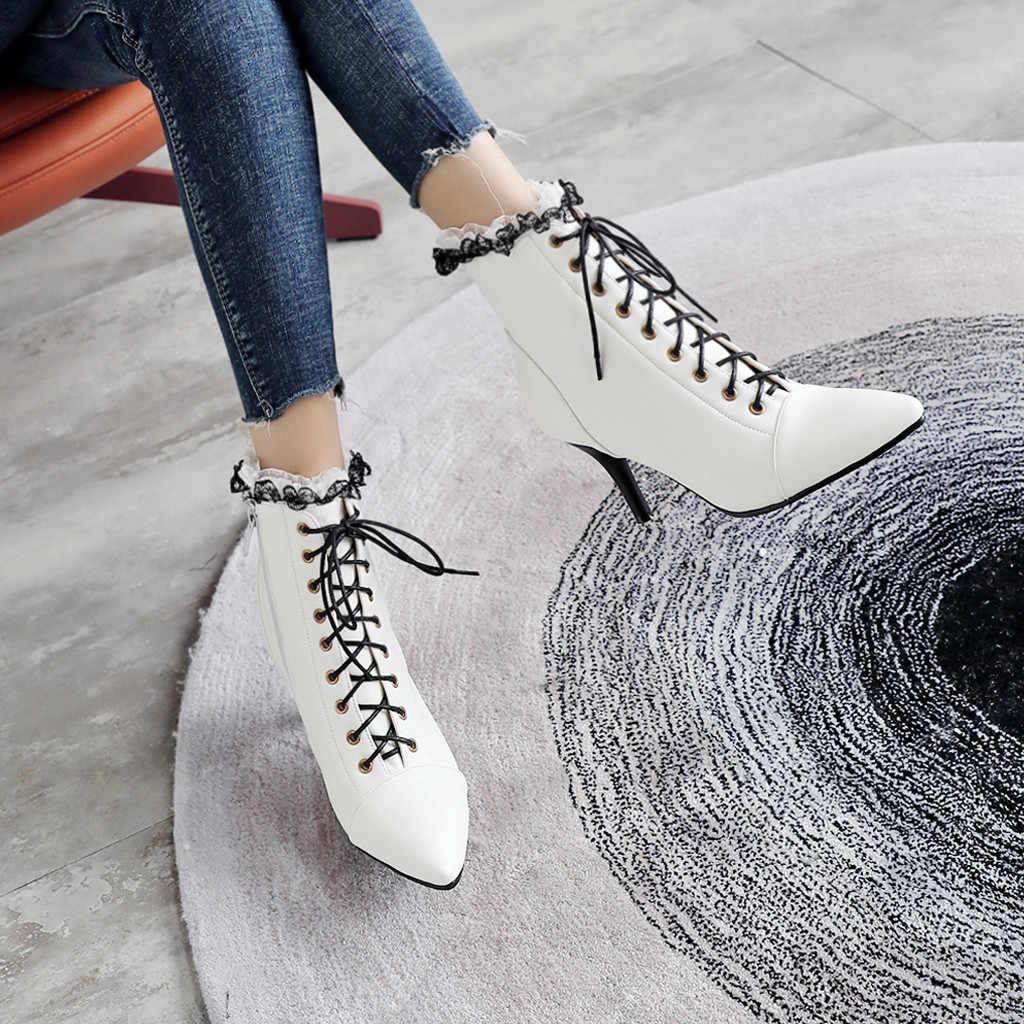 SAGACE ออกแบบ Elegant Ruffles เจ้าสาวงานแต่งงานรองเท้าสีขาวลูกไม้ขึ้นด้านข้างซิป Stiletto รองเท้าส้นสูงข้อเท้ารองเท้าผู้หญิงรองเท้าแฟชั่น