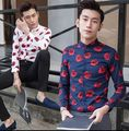 2016 New high-end boutique Tops Men's Clothing Male Korean cultivating personality floral shirt British long sleeved shirt