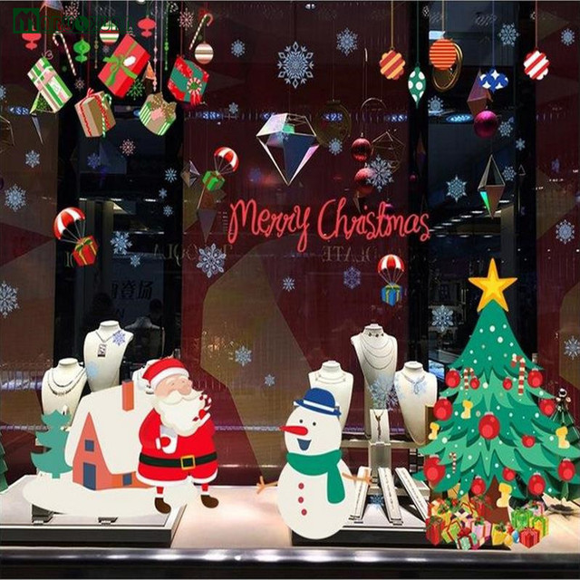 hot style popular manufacturers wholesale diy wall post christmas all membrane adhesive glass storefront window decoration